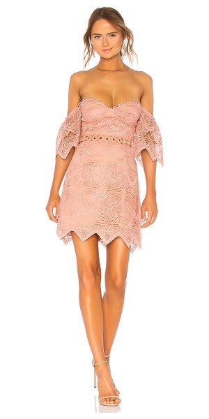 """Saylor Annika Dress in rose - """"100% poly. Dry clean only. Fully lined. Non-slip..."""