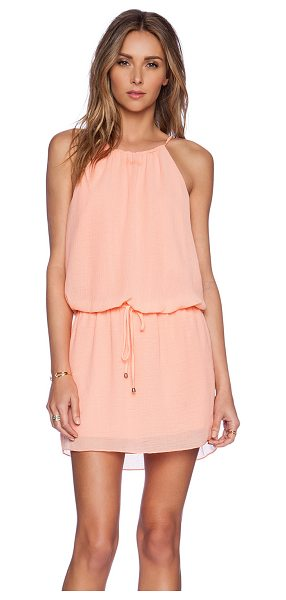 Saylor Bailey Dress in coral - Poly blend. Fully lined. Elastic drawstring waist. Back...