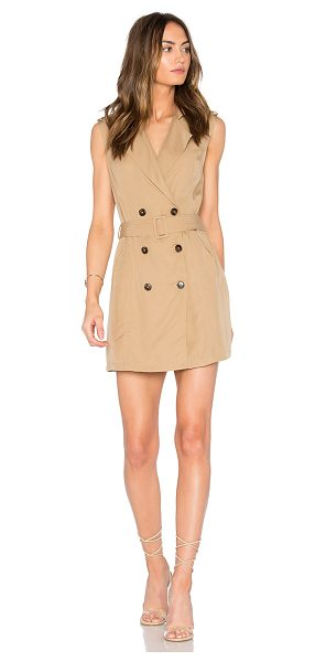 Saylor Briella Mini Dress in tan - Poly blend. Dry clean only. Fully lined. Front button...
