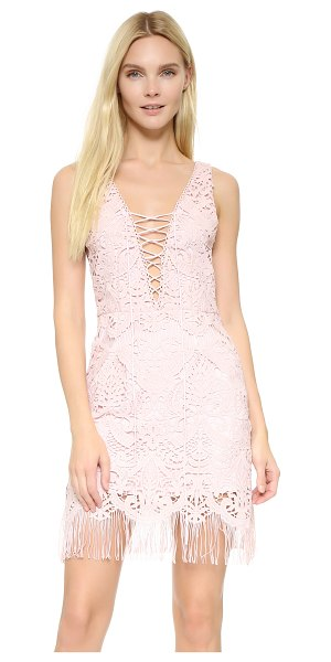 Saylor elana fringe crisscross dress in blush - This delicate lace Saylor dress is finished with playful...