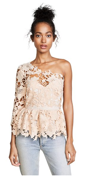 Saylor ella blouse in rose gold - This guipure lace Saylor blouse has a single-shoulder...