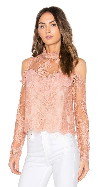 Saylor Evangeline Lace Top in rose - Poly/Nylon blend. Dry clean only. Allover lace overlay....