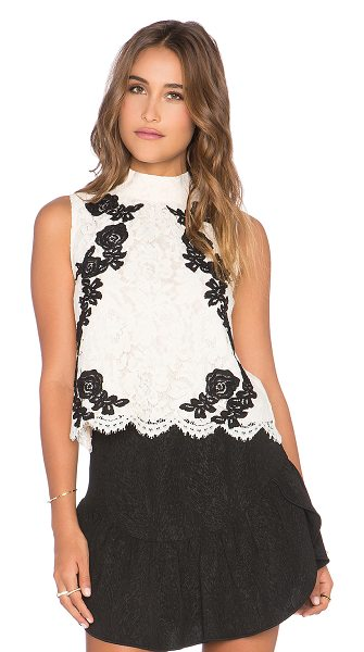 SAYLOR Isla top - Poly blend. Dry clean only. Lace fabric. Back keyhole...