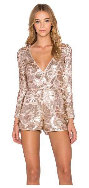 Saylor Jacqueline Sequin Romper in metallic gold - Poly blend. Dry clean only. Sequined throughout. Exposed...