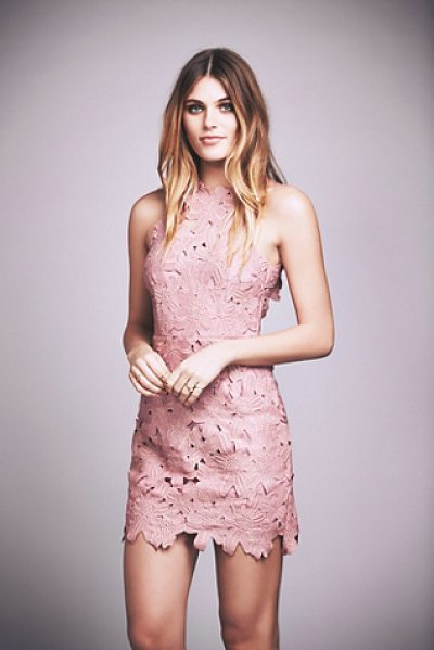 Saylor Jessa foil lace dress in blush with rose gold - Textured floral high neck shift dress with a sheen foil...