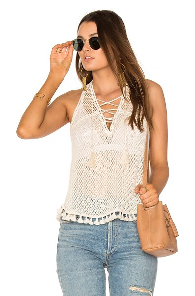 SAYLOR Kendra Top - 100% cotton. Lace-up neckline with tie closure. Tassel...
