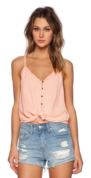 Saylor Kiley top in coral - Cotton blend. Button front closure. Front tie accent....