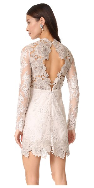 Saylor leondra lace dress in nude - A woven lining cut with a sweetheart neckline brings...