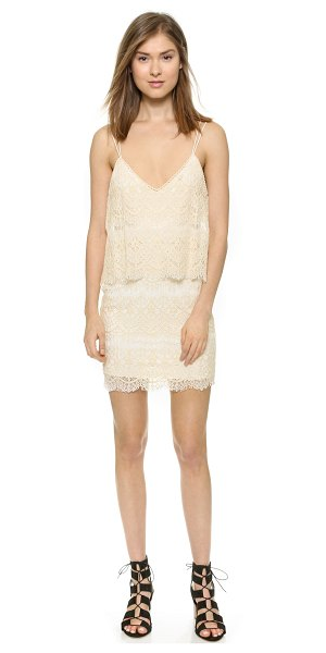 Saylor Randy dress in natural - A draped fold over panel lends feminine volume to this...