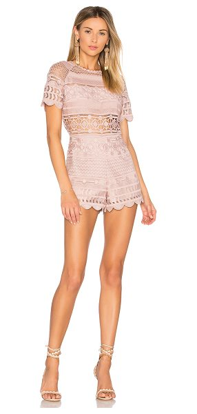 "Saylor Shannon Romper in pink - ""Self & Lining: 100% poly. Dry clean only. Allover..."