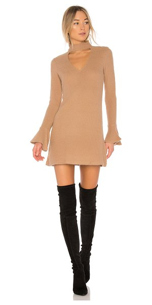 Saylor Sienna Bell Sleeve Dress in tan - Self: 60% angora 40% polyTrim: 100% poly. Dry clean...
