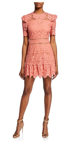 Saylor Sigourney Short-Sleeve Open-Back Bold Lace Mini Dress in coral