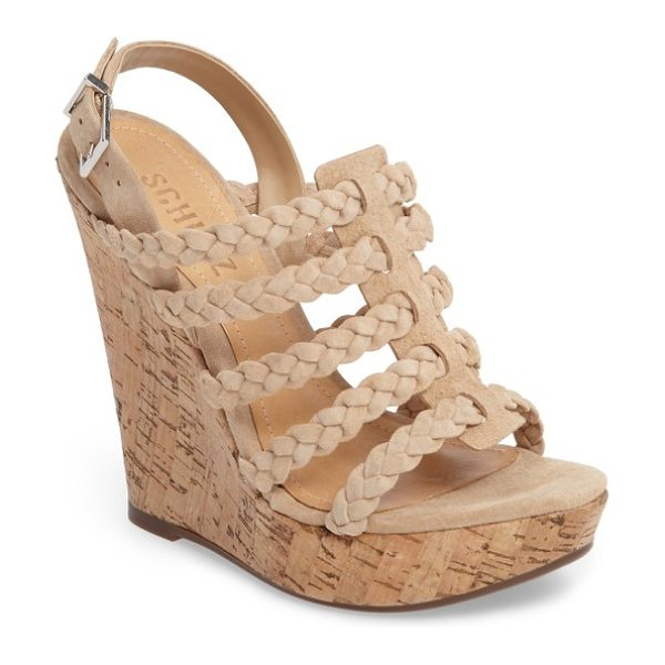 Schutz abigally wedge sandal in amber light - Braided suede straps stack up on a boho-chic sandal...