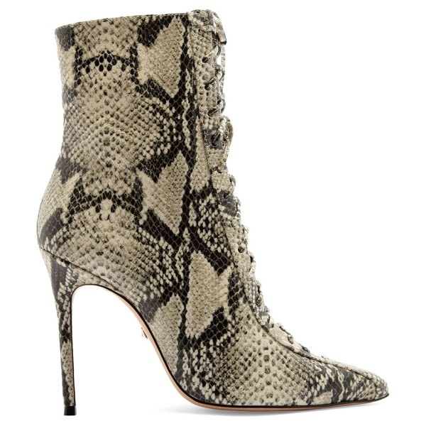 Schutz anaiya snake-embossed leather lace-up point toe mid-calf boots in natural