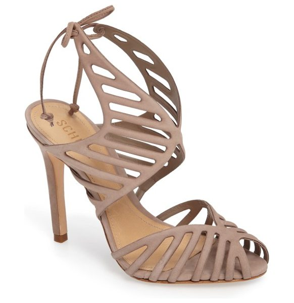 SCHUTZ anamelia strappy cage sandal in neutral nubuck leather - Slender cage straps, a d'Orsay toe and a towering...