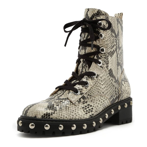 Schutz Andrea Studded Snake-Print Leather Combat Boots in natural