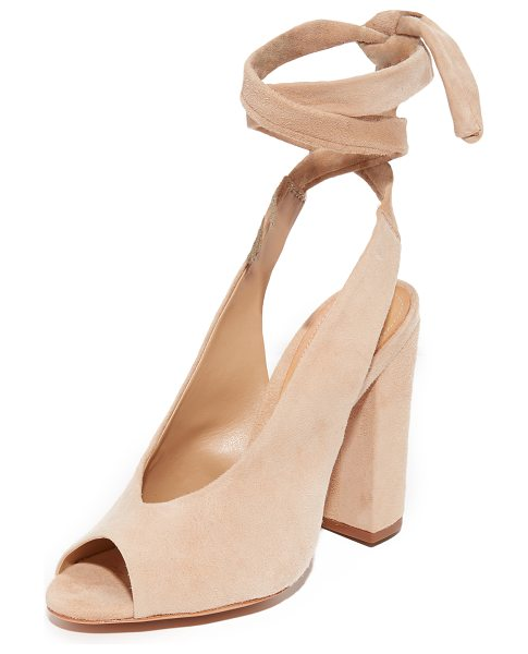 Schutz archie wrap peep toe heels in amber light