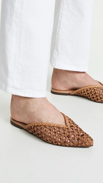 Schutz badria point toe mules in desert - Leather: Cowhide Basket weave design Mules Flat profile...