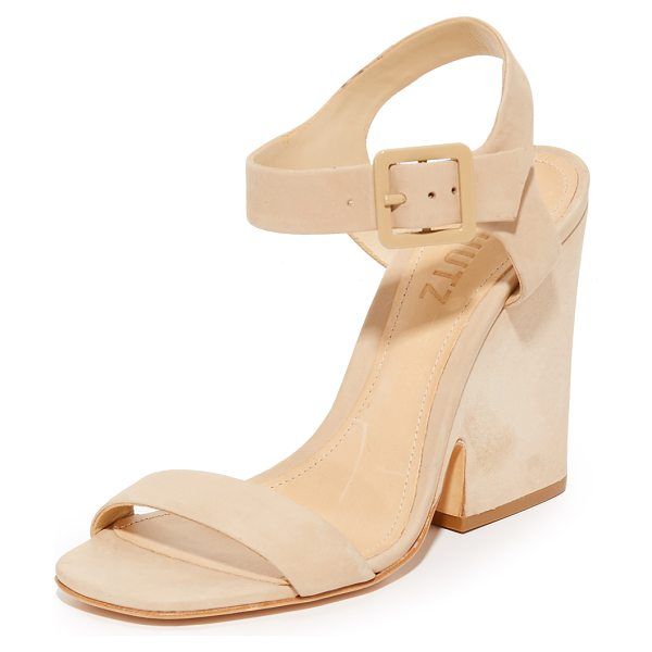 Schutz baronina sandals in amber light - Refined nubuck Schutz sandals styled with a sculpted,...