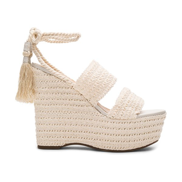"Schutz Bendy Wedge in cream - ""Woven textile upper with rubber sole. Wrap ankle with..."