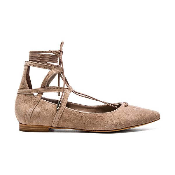 SCHUTZ Beryl flat - Suede upper with leather sole. Lace-up front with wrap...