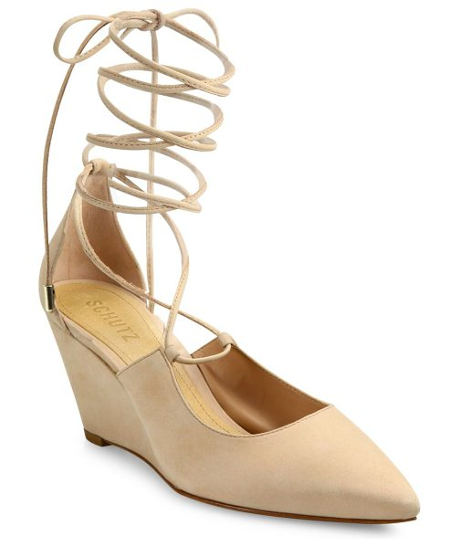 Schutz bibian suede lace-up wedge pumps in tan - Suede point-toe wedge pump with lace-up styling....
