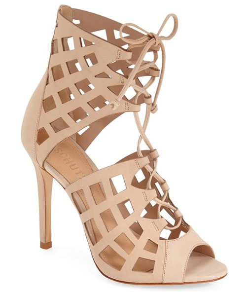 Schutz blake cutout sandal in tanino li - Latticed cutouts and corset-inspired laces style a...
