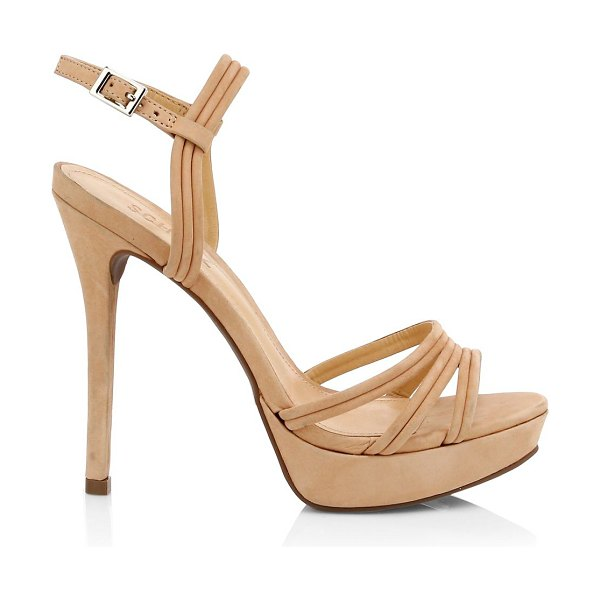 Schutz bogga suede platform stilleto sandals in honey