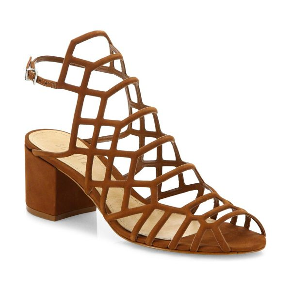 Schutz bollie suede caged block heel sandals in saddle - EXCLUSIVELY AT SAKS FIFTH AVENUE. Alluring suede caged...