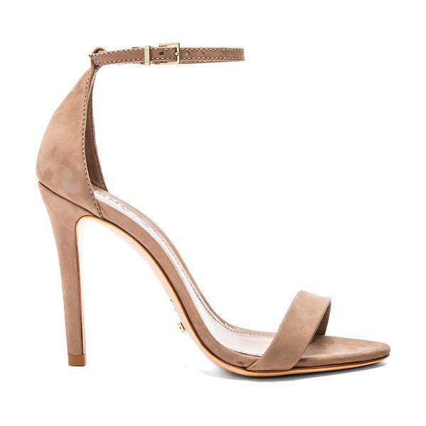 "Schutz Cadey Lee Heel in taupe - ""Suede upper with leather sole. Buckle closure. Heel..."