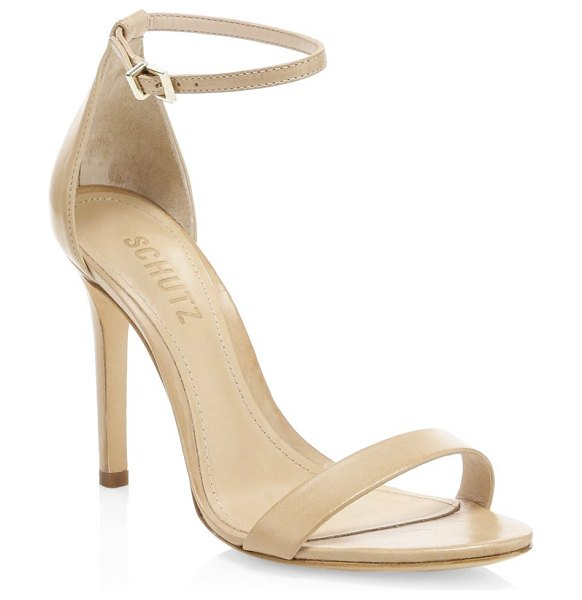 Schutz cadey-lee leather ankle-strap sandals in beige