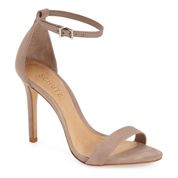 SCHUTZ 'cadey lee' sandal in neutral nubuck - An elegant high-heel sandal features simple styling and...