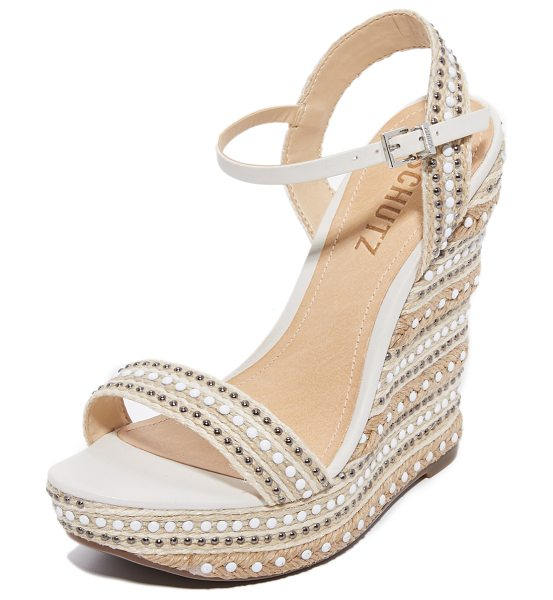 SCHUTZ carminda platform wedges - Stripes of two-tone studs cover these braided jute...