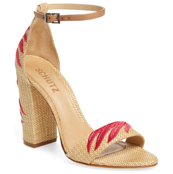 Schutz carolaine woven sandal in natural/ desert - Satin-stitched palm fronds wave breezily across the toe...