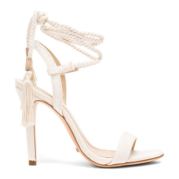 Schutz Catelyn Heel in cream - Canvas textile upper with leather sole. Wrap ankle with...