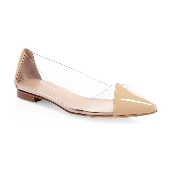 Schutz clearly patent leather flats in tan - Transparent details elevate these must-have patent...