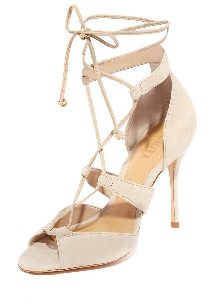 Schutz clove sandals in oyster - Luxe suede Schutz sandals styled with slim lace up ties....