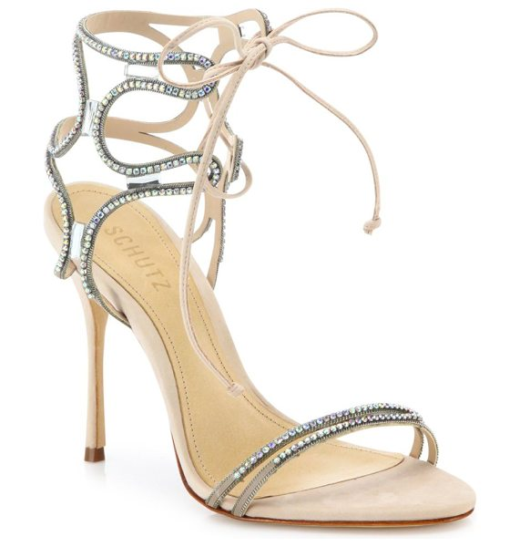 Schutz cristen crystal-embellished leather sandals in tani