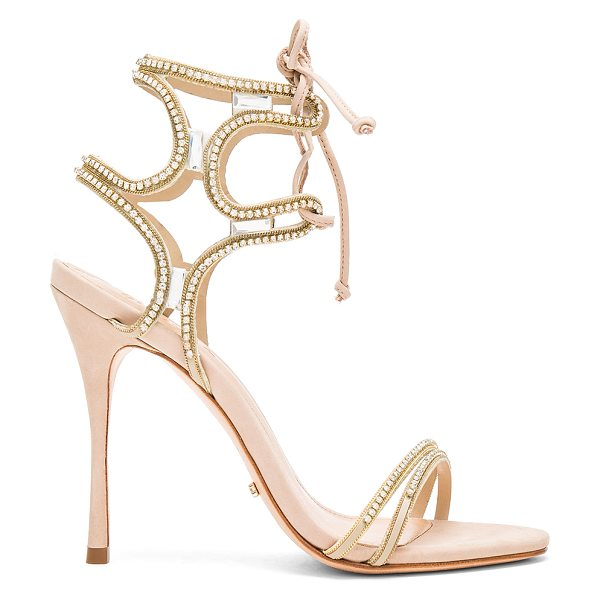 Schutz Cristen Heel in metallic gold - Man made upper with leather sole. Lace-up front with tie...