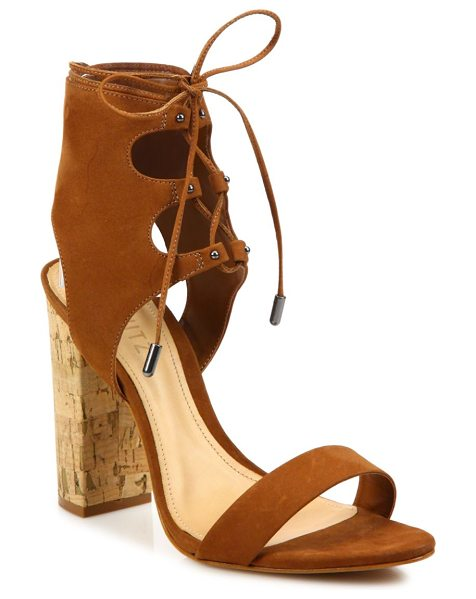 Schutz cruz lace-up suede block heel sandals in saddle - Cork block heel lifts suede sandal with lace-up cuff....