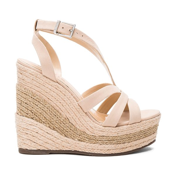 """SCHUTZ Daenerys Wedge in beige - """"Suede upper with man made sole. Ankle strap with buckle..."""