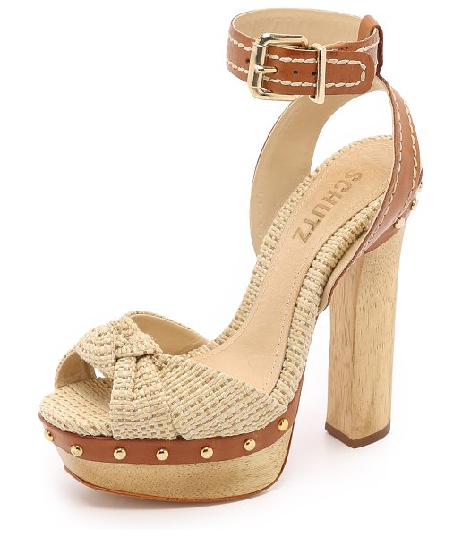 Schutz Dalla platform sandals in natural/ginger - Tweed and embroidered leather compose these retro...