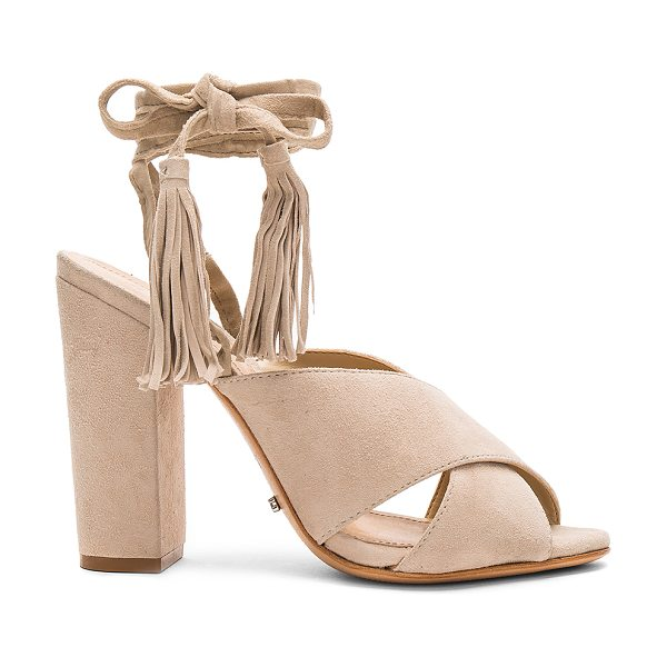 "Schutz Damila Heel in beige - ""Suede upper with leather sole. Wrap ankle with fringed..."