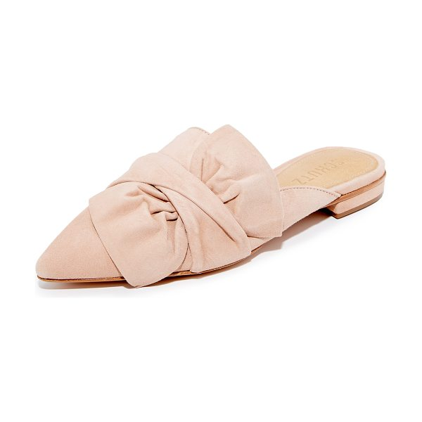 Schutz dana mules in nude - A large bow and twisted strap add easy, feminine charm...