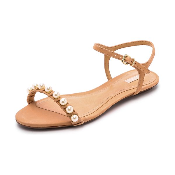 Schutz Darussa imitation pearl sandals in pale peach - A strand of lustrous imitation pearls adds a polished...