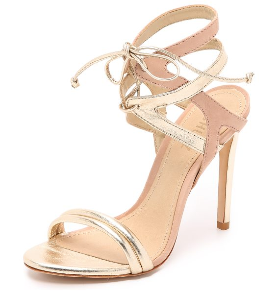 Schutz Delmano sandals in platina/peach - Metallic and matte leather composes the two tone straps...