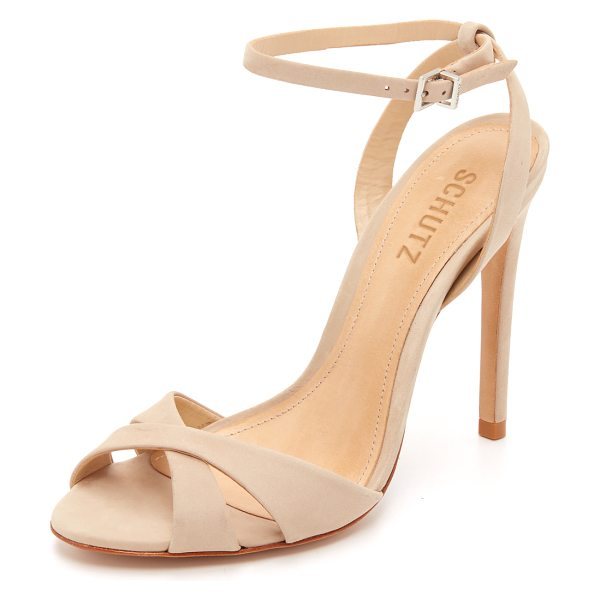 Schutz Dollie sandals in oyster - Smooth nubuck composes the crisscross vamp on these...