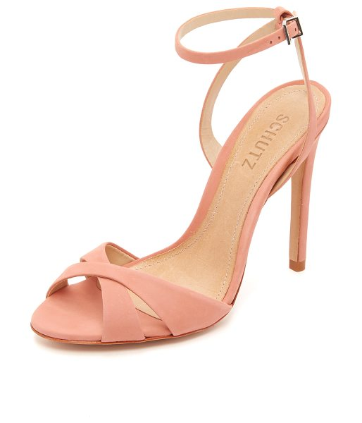 Schutz Dollie sandals in clay - Smooth nubuck composes the crisscross vamp on these...
