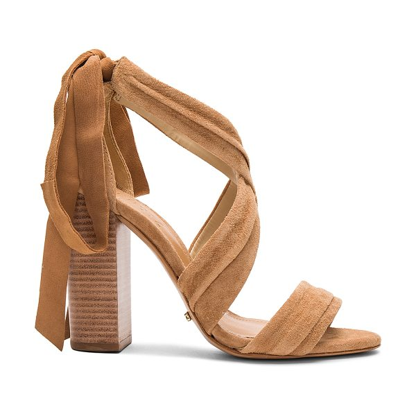 "Schutz Dream Heel in tan - ""Suede upper with leather sole. Wrap ankle with back tie..."
