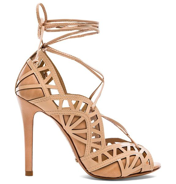 "Schutz Dubianna heel in peach - Leather upper and sole. Heel measures approx 4"""" H...."